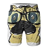 Kurabam Mens Beach Shorts, Pug Glasses Beach Lounge Shorts for Men Boys, Outdoor Short Pants Beach Accessories
