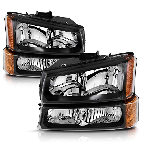 For 2003-2006 Chevy Silverado Avalanche 1500 2500 3500 Headlights Replacement Black Housing Clear Lens + Bumper Parking lights Headlight Assembly Set (4 PCS, Not for Body Cladding Models) 1500 Parking Light Replacement