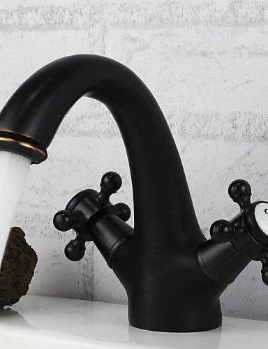 traditionellen StÖl Öl-rieb Bronze-Finish Keramikkappe zWeißGriffen Waschbecken Wasserhahn