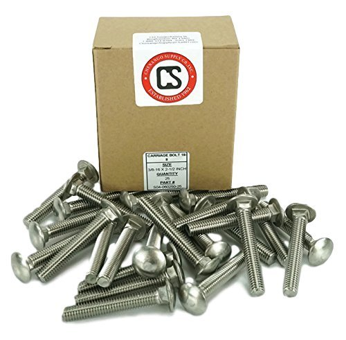 Stainless 3/8-16 x 2-1/2'' Carriage Bolt (1'' to 5'' Lengths Available in Listing), 18-8 Stainless Steel,25 Pieces (3/8-16x2-1/2''(25pcs))