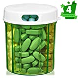 Pill Organizer Dispenser with 4 Compartments, Holder for Medication, Vitamins & Supplements Round Bottle Daily Pill Case Reminder Box