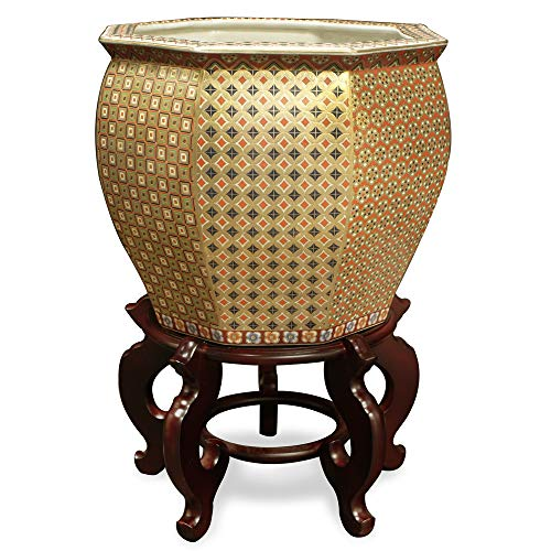 ChinaFurnitureOnline Porcelain Fishbowl, 16.75 Inches Hand Painted Chinese Gold Geometric Motif Planter