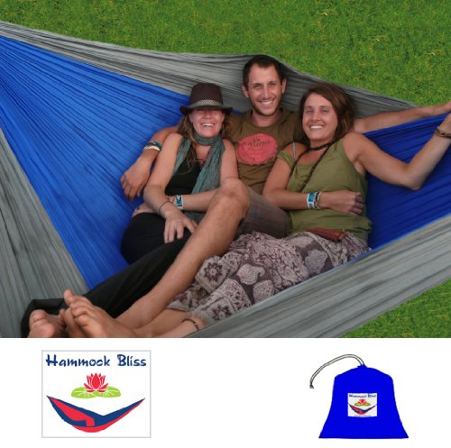 Hammock Bliss Triple – The Largest Portable Hammock on Planet Earth – The Best Hammock for Couples, Great for Tall People, Ideal for Families – 100″ Rope Per Side Included, Outdoor Stuffs