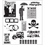 Stampers Anonymous Tim Holtz 7 x 8 1/2 Large Cling Stamp Set; Mini Muse 