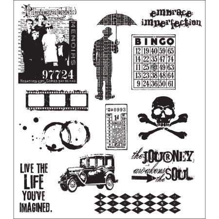 Stampers Anonymous Tim Holtz 7 x 8 1/2 Large Cling Stamp Set; Mini Muse|