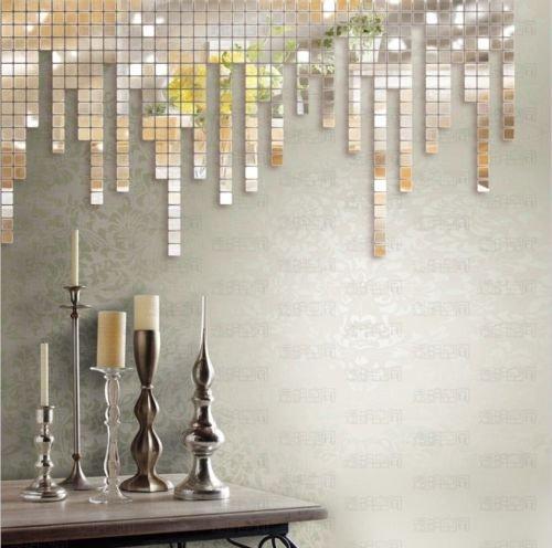 mirror mosaic wall art diy sun silver sticker sofa living room decor hot deco australia