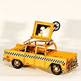 EliteTreasures Metal Collectible Retro Yellow NYC Taxi mini Photo Frame - Decorative Collectible - NYC Souvenir Miniature Model
