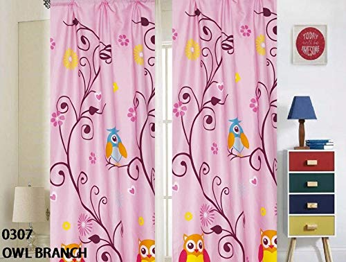 Sapphire Home 2 Window Curtain Panels w/tiebacks for Kids Girls, Owl Design Print Window Curtain for Girls Kids, Pink Girls Kids Teens Room Décor, Owl Branch Curtain