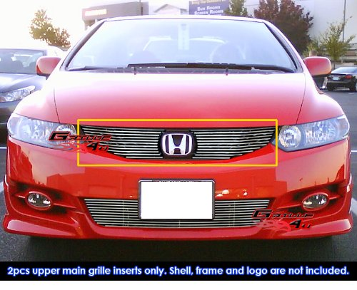 Honda Civic Grilles Billet - APS H66765A Polished Aluminum Billet Grille Bolt Over for select Honda Civic Models
