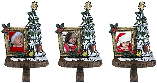 Lulu Decor, Cast Iron Decorative Christmas Tree Stocking Holders with wallet size photo frame 3x2 inches, Solid, Beautiful, Set of 3 Trees on bark style base, Perfect for Holiday gifts (3 Trees - Frame Bark