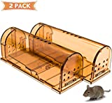 CaptSure Humane Smart Rodent Trap, Live Catch and Release, Kids/Pet Safe, Easy To Set, For Indoor/Outdoor, Reusable Cage Box, For Small Rat/Mouse/Hamster/Mole Catcher That Works. 2 Pack