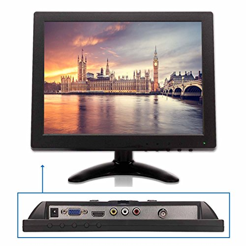 New TPEKKA 10 Inch HD 1024x768 CCTV Monitor Portable TFT LCD Security Monitor Display with BNC HDMI...