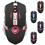 Professional Gaming Mouse,DLAND 4800 DPI 7 Buttons Optical High Precision USB Gaming Mice with 4 Color Led Flash Light for Laptop ,PC and Mac Compatible with Windows 7, 8, 10,XP, Vista, ME, 2000 ,MAC OS and so on