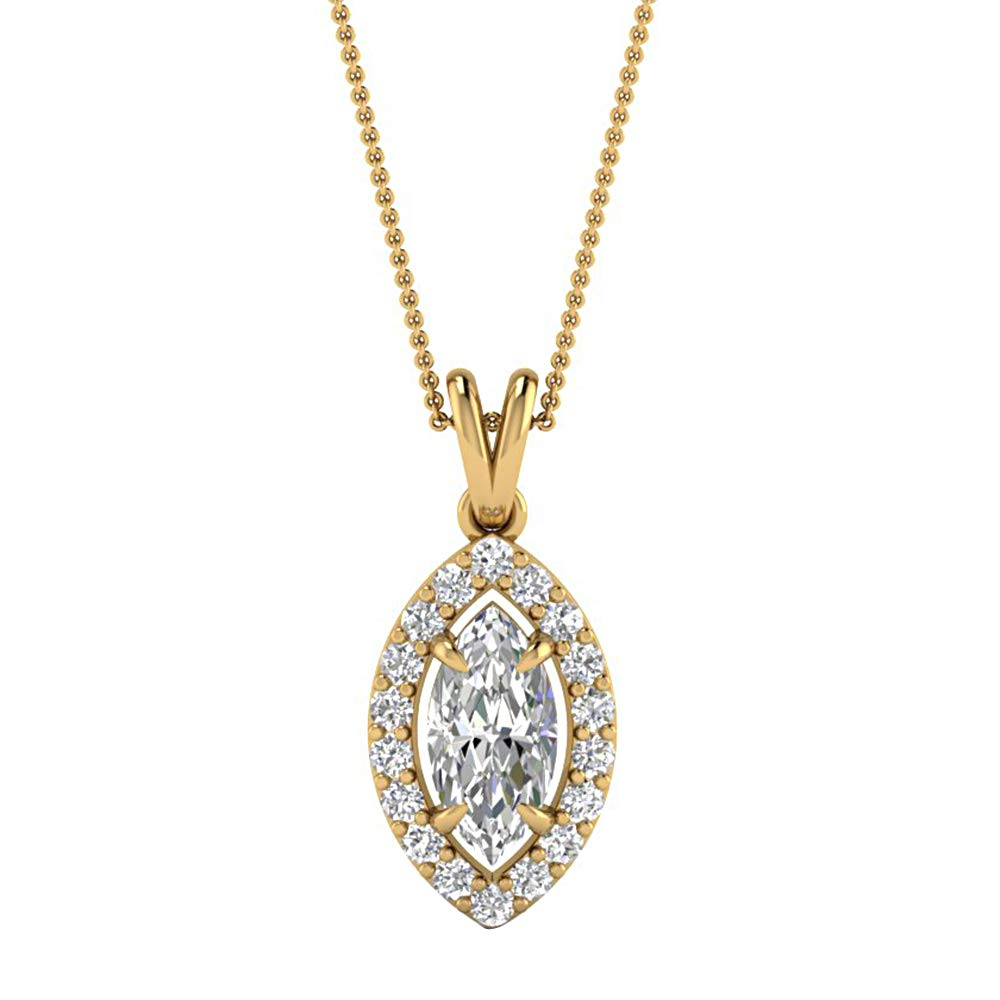 0.39 Ct Marquise /& Round Cut Simulated Diamond Halo Pendant With 18 Chain 14K Yellow Gold Plated