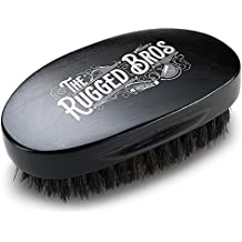 Beard Brush for Men by The Rugged Bros - Made from 100% Pure Wild Boar Hair - Best Round Hair Comb for Facial Care, Conditioning, and Distributing Oil - Perfect for Maintenance of Beards and Moustache
