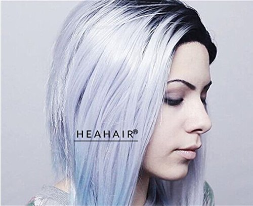 [Heahair Short Bob Styled Gray Ombre Blue Turquoise Handtied Synthetic Lace Front Wig] (Fancy Dress Hollywood Themed Costumes)