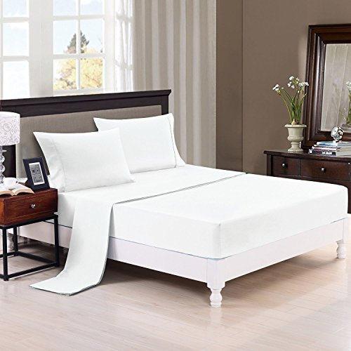 The Great American Store - Queen Sleeper Sofa Bed Sheet Set 100% Brushed Microfiber 1800 series Egytian Quality Premium Cool Ultra Soft Luxury White Solid
