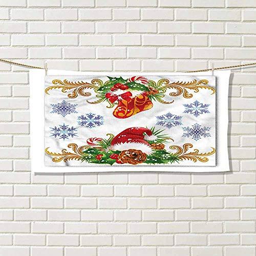 wwwhsl Essential Running Sweat Towel Christmas Stocking Santa Hat Comfort Experience W20xL20 Inch