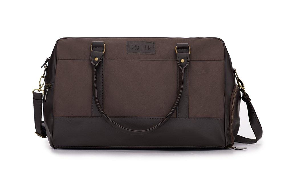 Solier hommes en cuir sac de voyage sac à bandoulière week-end sac de sport haut de gamme GOVAN S18 (Marron) NV5t7Tui