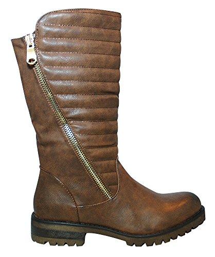 Juliet Women's Biker Boots Brown xQgbp82B