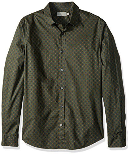 Vince Men's Ascot Long Sleeve Button Down, Olive, L