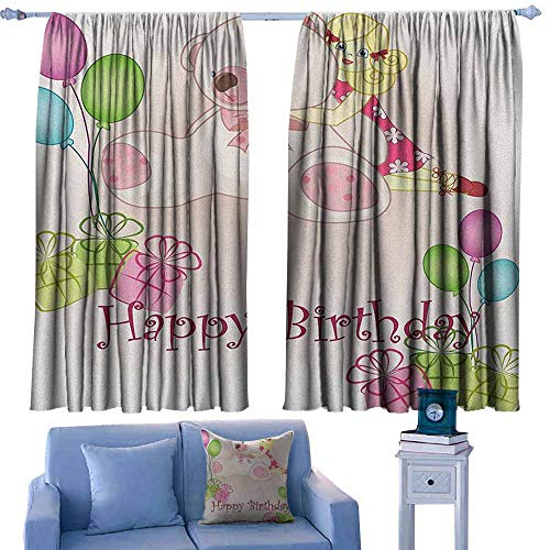 (GAAGS Home Decoration Thermal Insulated Curtains,Kids Birthday Baby Girl Birthday with Teddy Bears Toys Balloons Surprise Boxes Dolls Image,Waterproof Patio Door Panel,W72x63L Inches Pale Pink)