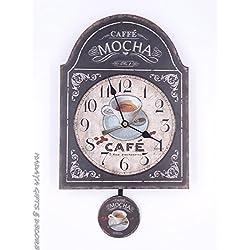 COFFEE LOVERS pendulum clock, shabby chic, with MOCHA THEME