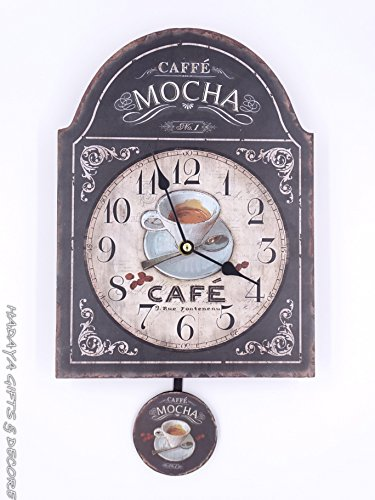 COFFEE LOVERS pendulum clock, shabby chic, with MOCHA THEME (Coffee Theme)