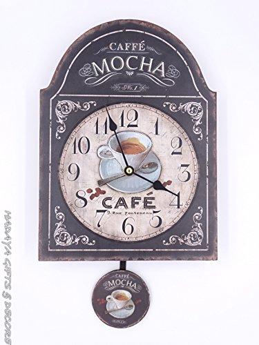 COFFEE LOVERS pendulum clock, shabby chic, with MOCHA THEME (Theme Coffee)