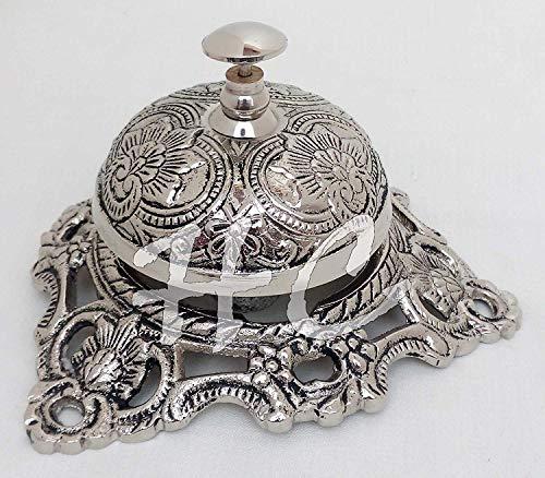 (CalvinVintage Brass Reception Desk Service Bell Ornate Call Ringer School Office Bell | Brass Nautical Bell | Brass Antique Bell)