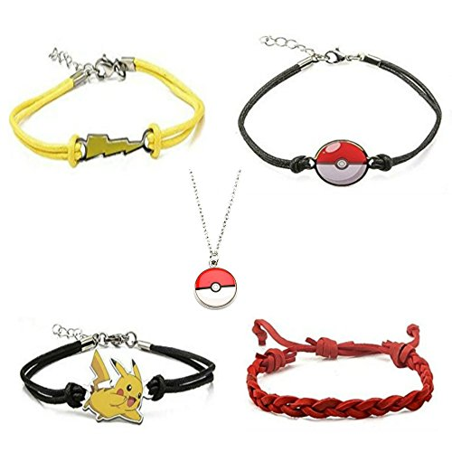[Pokemon Stainless Steel Pendant Chain & Four Bracelets - Pikachu, Lightning Bolt, Red Leather,] (Slowpoke Costume)