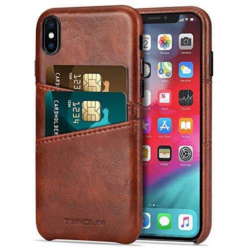 TENDLIN Compatible with iPhone Xs Max Case Wallet Design Premium Leather Case with 2 Card Holder Slots Compatible with iPhone Xs Max (Brown)