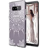 Galaxy Note 8 Case, Galaxy Note 8 Clear Case, MOSNOVO White Henna Mandala Floral Lace Clear Design Printed Transparent Hard Back Case with TPU Bumper Protective Case Cover for Samsung Galaxy Note 8