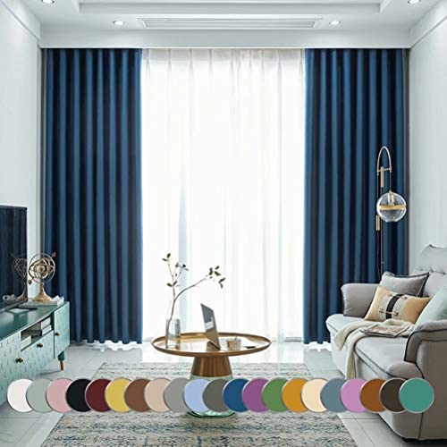 MacoHome Navy Blue Full Blackout Grommet Curtain Panel Thermal Insulated Room Darkening Drapes Navy Blue