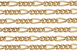 2 Feet 14Kt Gold Filled Figaro Chain 4.6x2 mm 24 Gauge For Diy Beading Arts and Crafts