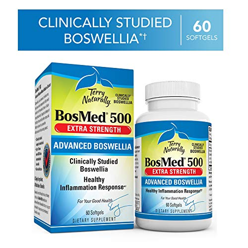 Terry Naturally BosMed 500-500 mg Boswellia, 60 Softgels - Clinically Studied Boswellia Supplement, Supports Healthy Inflammation Response - Non-GMO, Gluten-Free - 60 Servings 500 Mg Softgel Capsules