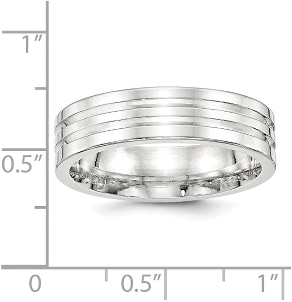 Sterling Silver Wedding Band Ring Polished 6 mm SS 6mm Fancy B