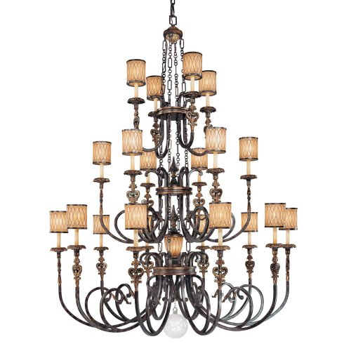 (Minka Metropolitan N6487-270 Terraza Villa - Seventeen Light 3-Tier Chandelier, Terraza Village Aged Patina/Gold Leaf Finish with Spumante Strato Glass)