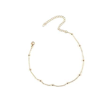 6a167efa379f tpocean Choker Collar goma en cadena fina con cuentas de oro collar de  cadena de clavícula