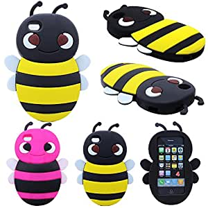 KIKO Wireless 3D Cute Cartoon Bumblebee Bumble Bee Animal Soft Silicone Skin Case Cover for Apple iPhone 4/4S - Retail Packaging (Yellow)