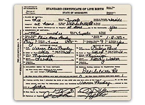 Elvis Birth Certificate - Metal Wall Sign Plaque Art Inspirational