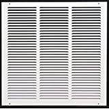 "16""w X 16""h Steel Return Air Grilles - Sidewall and Cieling - HVAC DUCT COVER - White [Outer Dimensions: 17.75""w X 17.75""h]"