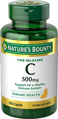 Nature's Bounty Vitamin C Pills and Supplement, Supports Immune Health, 500mg, 100 Capsules