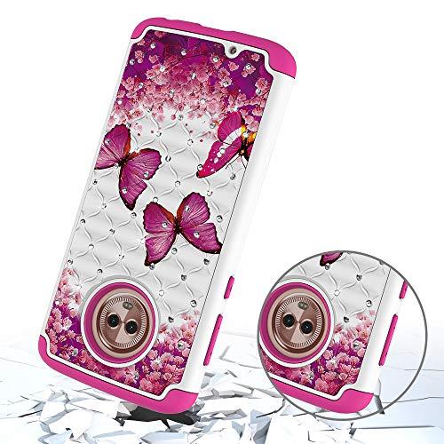 G6 Modle Moto tui Antichoc Coque Diamant Play Play Moto Arrire Hybride Protecteur Double TPU Dur Svelte avec Doux Couche Dreamcatcher pour Yobby Papillon G6 Case Bumper Housse Rose PC Coque FxwqXn7