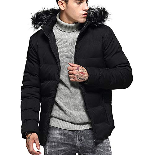 Rambling New Men's Fashion Hoodie Slim-Fit Parka Jacket Puffer Coat with Removable Faux-Fur Hood Trim