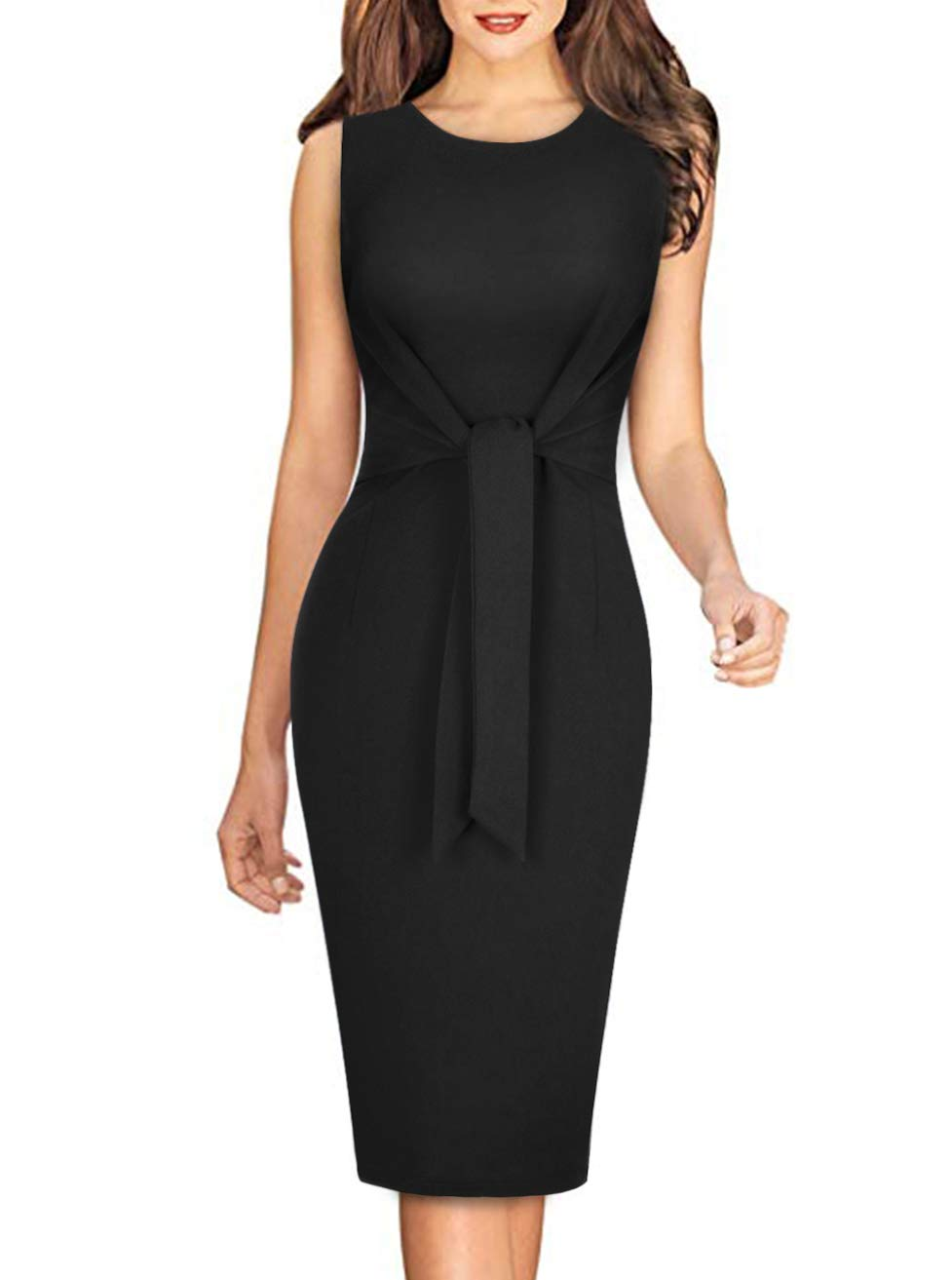 Moyabo Womens Tie Knot Front Sleeveless Round Neck Business Office Work Pencil Dress
