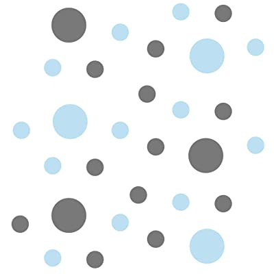 Set of 30 - Circles Polka Dots Vinyl Wall Graphic Decals Stickers (Baby Blue/Grey): Kitchen & Dining