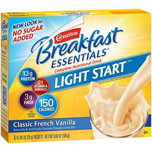 Carnation Breakfast Essentials Light Start Powder Drink Mix, Classic French Vanilla, 8 Packets (Pack of 8 Boxes)