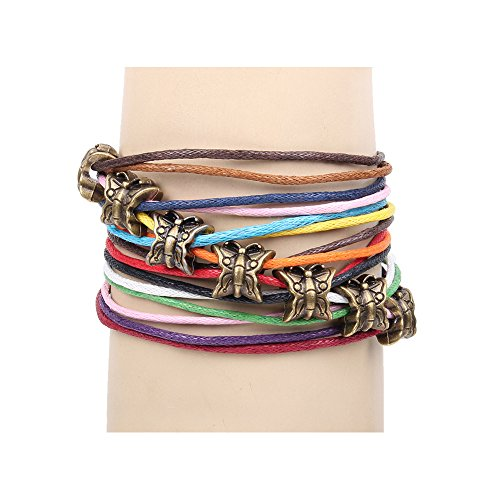 Winter#039s Secret Bronze Butterfly Pattern Hand Braided Diy Color Wax Rope Ancient Wrap Bracelet