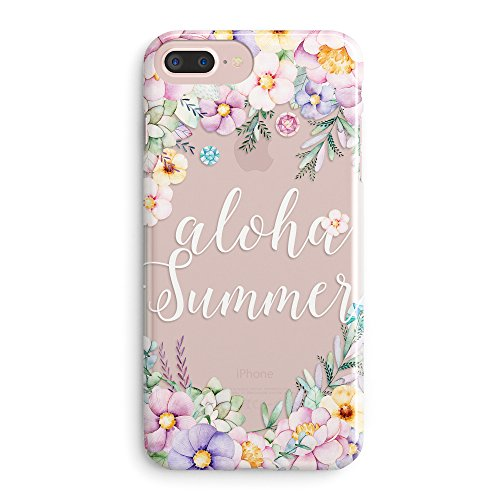 iPhone 8 Case,iPhone 7 Case,Flowres Floral Succulent Cute Aloha Love Summer Tropical Pink Hawaii Laurel Peachy Anemone Rose Girls Women Summer Alpaca Clear Rubber Case Cover for iPhone 8/iPhone -